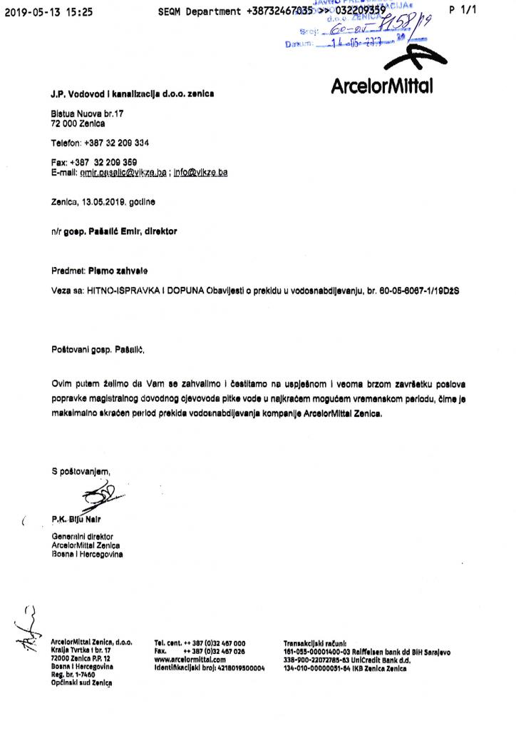 Zahvalnica ArcelorMittal Zenica d.o.o. za JP ViK d.o.o. Zenica